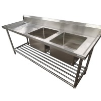 Premium Stainless Steel Bench Double RHS Sinks-1500x600