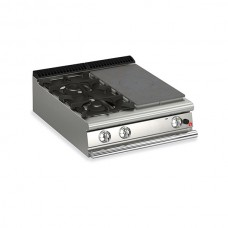 Baron Q70TPM/G8003SX Queen7 Countertop Gas Solid Top With 2 Burners On Left - 800mm