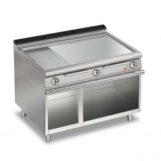 Baron Q70FTV/E1225 Queen7 Electric Flat/Ribbed Chrome Griddle Plate On Open Cabinet - 1200mm
