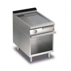 Baron Q70FTV/E620 Queen7 Electric Flat/Ribbed Mild Steel Griddle Plate On Open Cabinet - 600mm