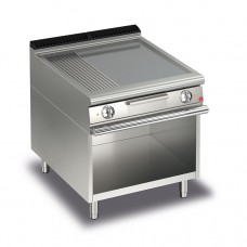 Baron Q70FTV/E823 Queen7 Electric Flat/Ribbed Stainless Griddle Plate On Open Cabinet - 800mm