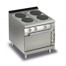 Baron Q70PCF/E800 Queen7 Electric Range 4 Round Cast Iron Plate and Electric Oven - 800mm