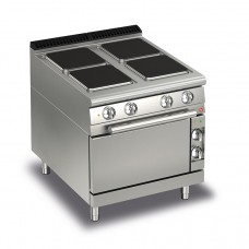 Baron Q70PCF/E801 Queen7 Electric Range 4 Square Cast Iron Plate and Electric Oven - 800mm
