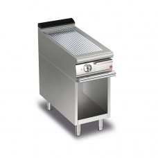 Baron Q70FTV/E415 Queen7 Electric Ribbed Chrome Griddle Plate On Open Cabinet - 400mm