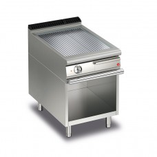Baron Q70FTV/E615 Queen7 Electric Ribbed Chrome Griddle Plate On Open Cabinet - 600mm
