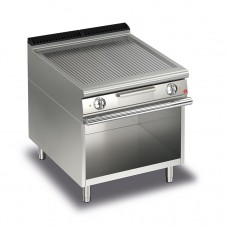 Baron Q70FTV/E810 Queen7 Electric Ribbed Mild Steel Griddle Plate On Open Cabinet - 800mm