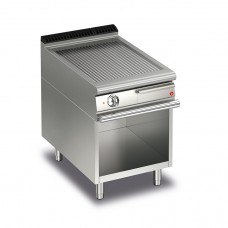 Baron Q70FTV/E613 Queen7 Electric Ribbed Stainless Griddle Plate On Open Cabinet - 600mm