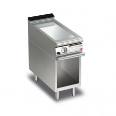 Baron Q70FTTV/G405 Queen7 Gas Flat Chrome Griddle Plate Thermostat Cont. On Open Cabinet - 400mm