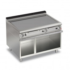 Baron Q70FTTV/G1200 Queen7 Gas Flat Mild Steel Griddle Plate Thermostat Cont. On Open Cabinet - 1200mm