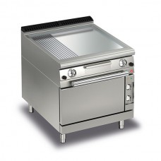 Baron Q70FTTF/GE825 Queen7 Gas Flat/Ribbed Chrome Griddle Plate With Electric Oven - 800mm