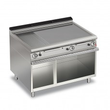 Baron Q70FTTV/G1220 Queen7 Gas Flat/Ribbed Mild Steel Griddle Plate Thermostat Cont. On Open Cabinet - 1200mm