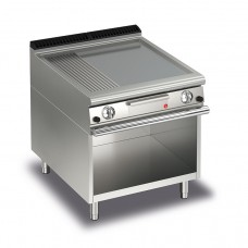 Baron Q70FTTV/G820 Queen7 Gas Flat/Ribbed Mild Steel Griddle Plate Thermostat Cont. On Open Cabinet - 800mm