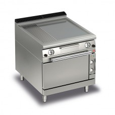Baron Q70FTTF/GE820 Queen7 Gas Flat/Ribbed Mild Steel Griddle Plate With Electric Oven - 800mm