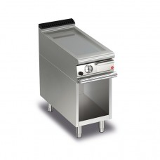 Baron Q70FTTV/G403 Queen7 Gas Flat Stainless Griddle Plate Thermostat Cont. On Open Cabinet - 400mm