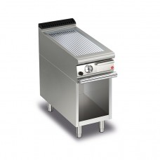Baron Q70FTTV/G415 Queen7 Gas Ribbed Chrome Griddle Plate Thermostat Cont. On Open Cabinet - 400mm