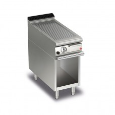 Baron Q70FTTV/G410 Queen7 Gas Ribbed Mild Steel Griddle Plate Thermostat Cont. On Open Cabinet - 400mm