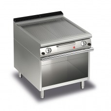 Baron Q70FTTV/G810 Queen7 Gas Ribbed Mild Steel Griddle Plate Thermostat Cont. On Open Cabinet - 800mm