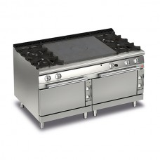 Baron Q70TP2F/GE1603 Queen7 Gas Solid Top Range With 2 Burners On Left and Right And Double Electric Ovens - 1600mm