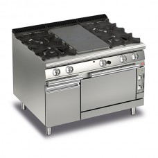 Baron Q70TPMF/GE1203 Queen7 Gas Solid Top Range With 2 Burners On Left and Right And Electric Oven With Cupboard - 1200mm