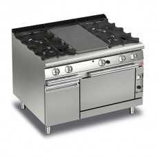 Baron Q70TPMF/G1203 Queen7 Gas Solid Top Range With 2 Burners On Left and Right And Gas Oven With Cupboard - 1200mm