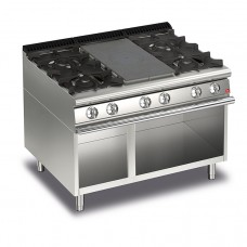 Baron Q70TPMV/G1203 Queen7 Gas Solid Top With 2 Burners On Left and Right On Open Cabinet - 1200mm
