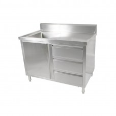1 Door, 3 Draw Stainless Steel Cabinet With Left Sink - 1200X600