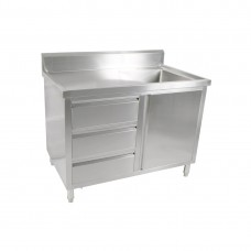 1 Door, 3 Draw Stainless Steel Cabinet With Right Sink - 1200X600