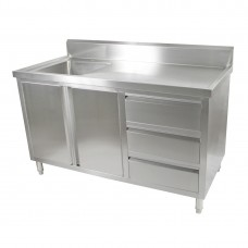 2 Door, 3 Draw Stainless Steel Cabinet With Left Sink - 1500X600