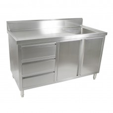 2 Door, 3 Draw Stainless Steel Cabinet With Right Sink - 1500X600