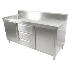 2 Door, 3 Draw Stainless Steel Cabinet With Left Sink - 1800X600