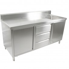 2 Door, 3 Draw Stainless Steel Cabinet With Right Sink - 1800X600