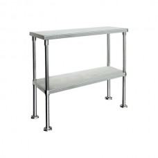 Double Tier Stainless Bench Overshelf Round Base - 1800