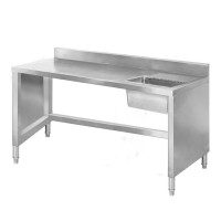 Stainless Sink Work Bench With Splashback 1400x600