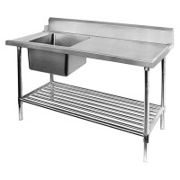 SS Dishwasher Inlet Bench Single LHS Sink-1800mm