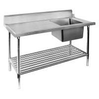 SS Dishwasher Inlet Bench Single RHS Sink-1800mm