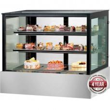 Black Trim Square Glass Cake Display 1200mm