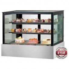 Thermaster by FED SSU90-2XB Black Trim Square Glass Cake Display 900mm