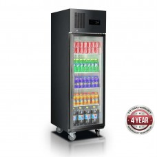 Thermaster by FED SUCG500B Single Glass Door Upright Fridge Black Stainless Steel 500 Litre