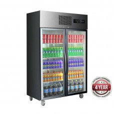 Double Glass Door Black Stainless Steel Upright Fridge 1000L