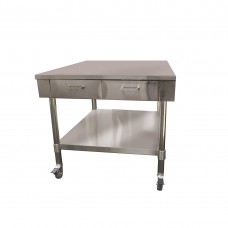Low Height SS Bench With 2 Drawers, 915x850mm