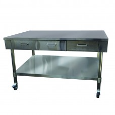 Low Height SS Bench With 3 Drawers, 1220x850mm