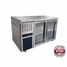 Thermaster by FED TL1500TNG S/S Double Glass Door Bench Fridge 1500X700X865mm