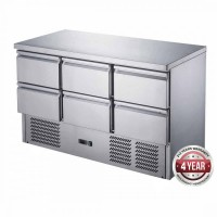 Six Drawer Stainless Steel Compact Workbench Fridge