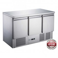 Thermaster by FED XGNS1300B FED-X 3 Door Stainless Steel Compact Workbench Fridge