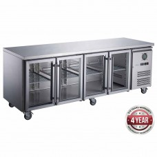 Thermaster by FED XUB7C22G4V FED-X Four Glass Door Stainless Steel Bench Fridge